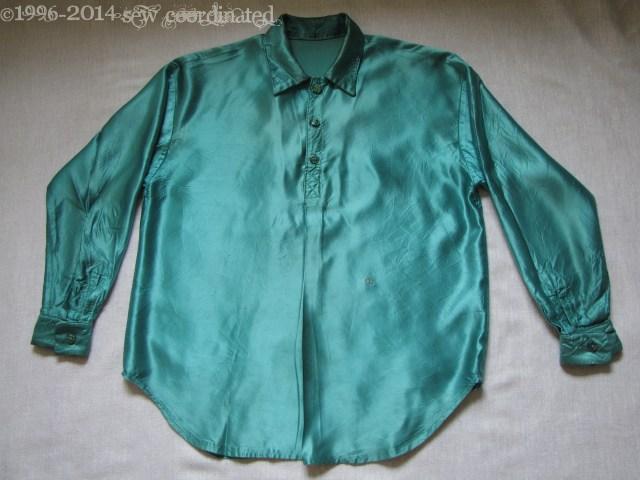 Teal Satin Mens Shirt