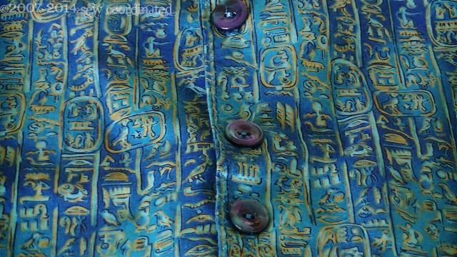 A close-up of the mock hieroglyph print