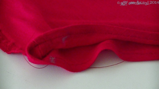 The other side of the neckline marked with chalked alter points.