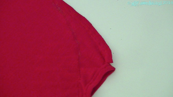 The chalk line stitched through,  creating a new shoulder seam.