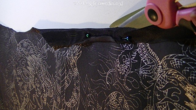Straightening the edges of the print panel: remember, it was a shirt, so it had curves .