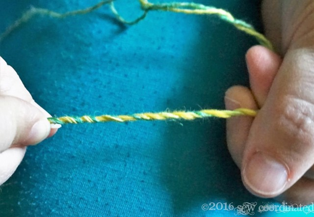 Both yarns twisted together.  The objective of my work.
